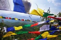 Bandeiras budistas da oração Fotografia de Stock