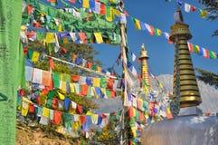 Bandeiras budistas da oração em Dharamshala, Índia Imagem de Stock