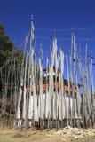 Bandeiras budistas da oração - reino de Bhutan Fotografia de Stock