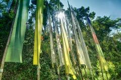 Bandeiras budistas da oração, Sikkim, Índia Imagem de Stock Royalty Free