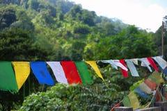 Bandeiras budistas em uma corda Meghalaya imagens de stock