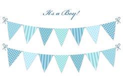Bandeiras chiques gastos azuis da estamenha de matéria têxtil bonito do vintage ilustração royalty free