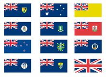 Bandeiras coloniais britânicas ilustração stock