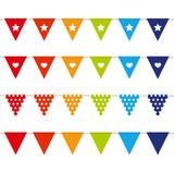 Bandeiras coloridas com o teste padrão isolado no backgound branco ilustração stock