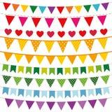 Bandeiras coloridas da estamenha ajustadas Imagem de Stock Royalty Free