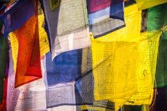Bandeiras coloridas da oração como o símbolo do buddhism Fotografia de Stock