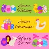 Bandeiras coloridas da Web da Páscoa feliz ajustadas Fotos de Stock Royalty Free