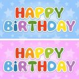 Bandeiras coloridas do feliz aniversario ilustração stock