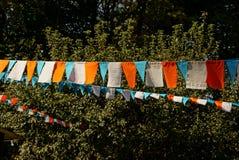 Bandeiras coloridas em um fio no parque em um dia ensolarado Imagem de Stock Royalty Free