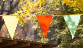 Bandeiras coloridas no outono da natureza Fotos de Stock Royalty Free