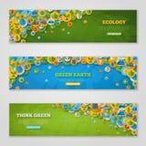 Bandeiras com ícones da ecologia, ambiente, verde Fotografia de Stock
