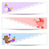 Bandeiras com artigos do bebê Fotografia de Stock Royalty Free