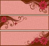 Bandeiras com flores Imagens de Stock