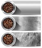 Bandeiras com os feijões de café Roasted Imagens de Stock