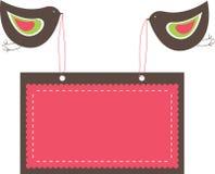 Bandeiras cor-de-rosa com dois pássaros. Foto de Stock Royalty Free