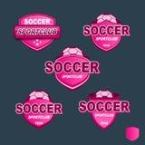 Bandeiras cor-de-rosa do futebol do crachá do vetor Ilustração Royalty Free