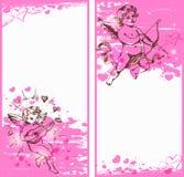 Bandeiras cor-de-rosa verticais com cupidos Fotos de Stock