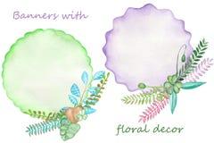 Bandeiras da aquarela com decorações florais, ramos e folhas Imagens de Stock