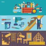 Bandeiras da carpintaria ajustadas Imagens de Stock