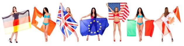 Bandeiras da colagem do mundo Imagens de Stock