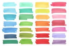 Bandeiras da cor tiradas com marcadores de japão Elementos à moda para o projeto Curso do marcador do vetor