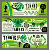 Bandeiras da escola e do competiam do jogo do esporte do tênis ilustração royalty free