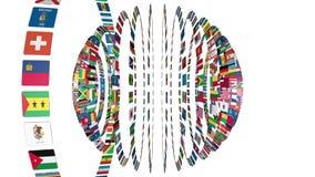 Bandeiras da esfera do mundo ilustração stock