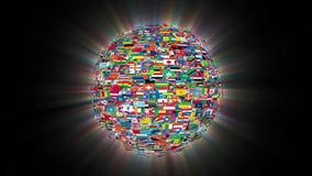 Bandeiras da esfera que gira, laço do mundo, brilho, metragem conservada em estoque ilustração stock