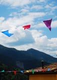 Bandeiras da estamenha em Ligosullo Imagem de Stock Royalty Free