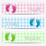 Bandeiras da festa do bebê Imagens de Stock