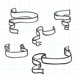 Bandeiras da fita da garatuja e elemento do projeto Ilustração do vetor Imagem de Stock