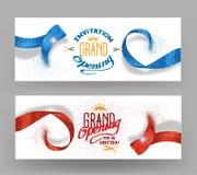 Bandeiras da grande inauguração com as fitas vermelhas e azuis abstratas Fotos de Stock Royalty Free