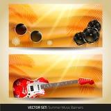Bandeiras da música do verão do vetor Fotos de Stock Royalty Free