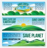 Bandeiras da natureza do planeta das economias do vetor para o Dia da Terra Foto de Stock Royalty Free