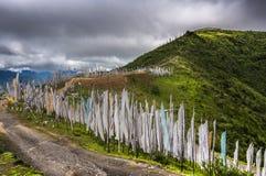 Bandeiras da oração das centenas na passagem de montanha alta, Longta, cavalo do vento, Butão imagem de stock royalty free
