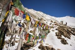 Bandeiras da oração em Chang La Pass Ladakh, Índia - em setembro de 2014 Imagem de Stock Royalty Free