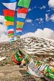 Bandeiras da oração em montanhas em Namco, Tibet Foto de Stock