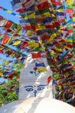 Bandeiras da oração em Swayambhu Nepal foto de stock