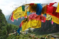 Bandeiras da oração em Tibet imagem de stock