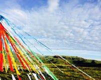 Bandeiras da oração em Tibet Imagem de Stock Royalty Free