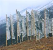 Bandeiras da oração na montanha Fotografia de Stock Royalty Free
