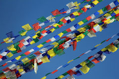 Bandeiras da oração no Stupa de Boudhanath Fotografia de Stock