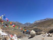Bandeiras da oração que acenam no vento - montagem Kailash Kora na mola em Tibet em China imagens de stock