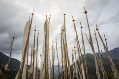 Bandeiras da oração de Butão Foto de Stock Royalty Free