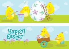 Bandeiras da Páscoa com ilustração dos desenhos animados da galinha Fotografia de Stock