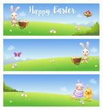 Bandeiras da Páscoa com o pássaro bonito da borboleta do cordeiro da galinha do coelho dos animais no fundo das paisagens da mola ilustração stock