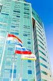 Bandeiras da região do Samara, da Rússia e do flutterin de Rosneft da empresa petrolífera Imagens de Stock Royalty Free