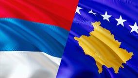 Bandeiras da Sérvia e do Kosovo Projeto de ondulação da bandeira, rendição 3D Imagens da bandeira de Kosovo da Sérvia, imagem do  ilustração stock