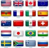 Bandeiras da tecla de países populares Imagem de Stock