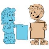 Bandeiras da terra arrendada do rapaz pequeno e da menina Imagens de Stock Royalty Free